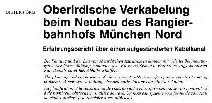 Oberirdische Verkabelung beim Neubau des Rangierbahnhofs München Nord – DIETER FÖRG