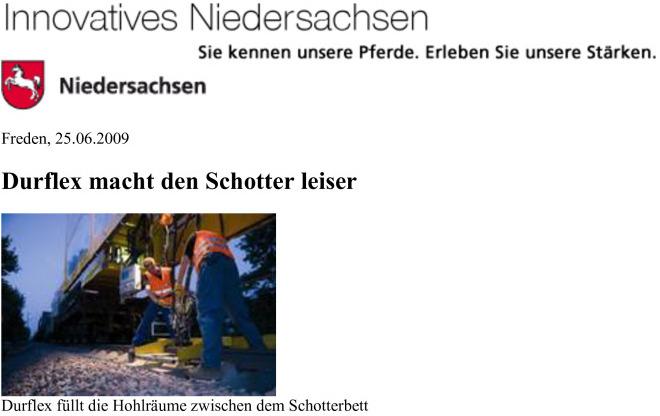Innovatives Niedersachsen – DURFLEX® macht den Schotter leiser