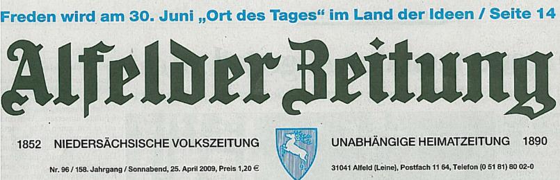 """Frenzel-Bau ist Preisträger der Initiative """"Land der Ideen"""" – Artikel in der Alfelder Zeitung vom 25.04.2009"""