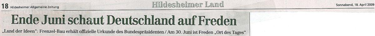 """""""Land der Ideen"""": Frenzel-Bau erhält offizielle Urkunde des Bundespräsidenten – Artikel in der """"Hildesheimer Allgemeine Zeitung"""" vom 18.04.2009"""