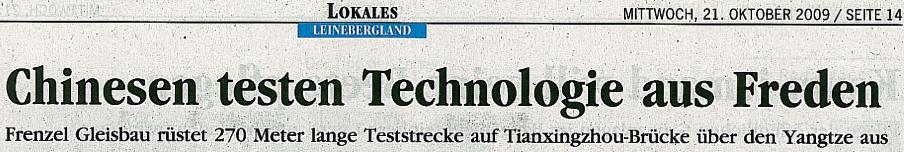 Chinesen testen Technologie aus Freden – Artikel der Alfelder Zeitung vom 21.10.2009