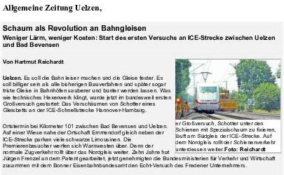 """Schaum als Revolution an Bahngleisen – Artikel in der """"Allgemeine Zeitung Uelzen"""""""